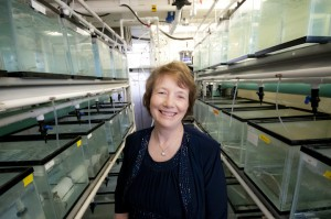 Dr. Nancy Denslow in aquatic lab