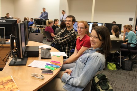 UF veterinary students pose in the new computer room while preparing to perform a course exercise on Feb. 1.