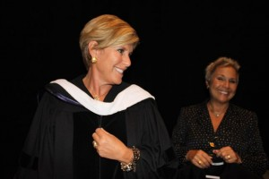 Suze Orman with K.T. Travis prior to graduation 2013.