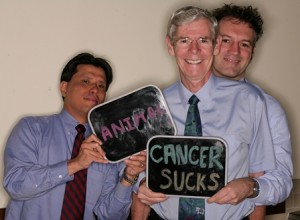 Dr. Kelvin Kow, Dr. Paul Gibbs and Dr. Nick Bacon tell us how they really feel about cancer in animals during the UF Health Big Picture Campaign photo spot event on May 3.