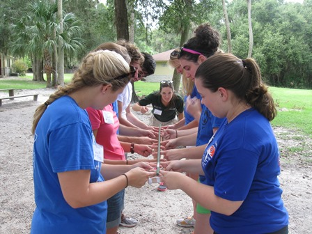 Students perform a team-building exercise during FLE at Camp McConnell. (Photo courtesy of UF CVM's Office for Students and Instruction.)