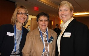 Patricia Wlasuk, associate director of development and alumni affairs, with Dr. Nanette Parratto-Wagner, '85, and Dr. Dana McDaniel, '86.