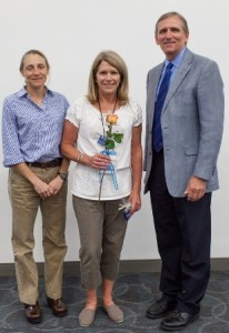 Dr. Dana Zimmel, left, with Melanie Wilcox and Dean Jim Lloyd. Not pictured: Nancy Hamilton.  (Photo by Jesse Jones)