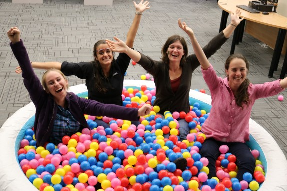 Students in ball pit