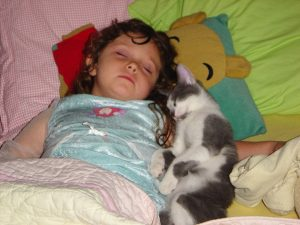 Sophia with Sparky the cat