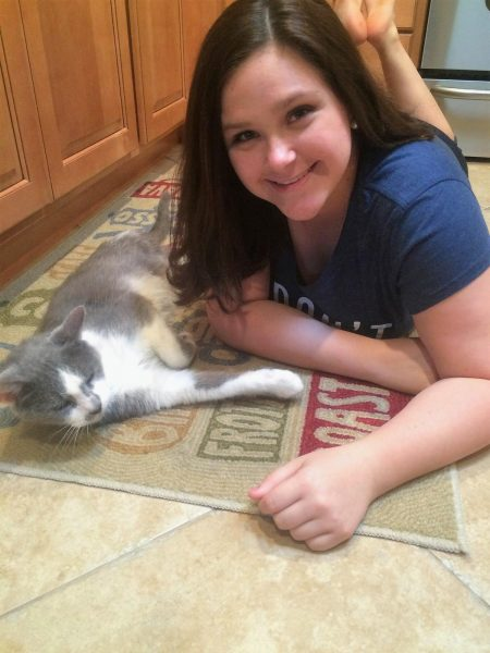 Sophia Bogush and her cat, Sparky.