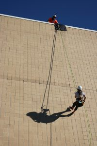 Rappelling down VAB